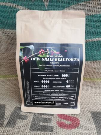 Kawa ziarnista świeżo palona  10 W SKALI BEAUFORTA - BLEND ARABICA 100%