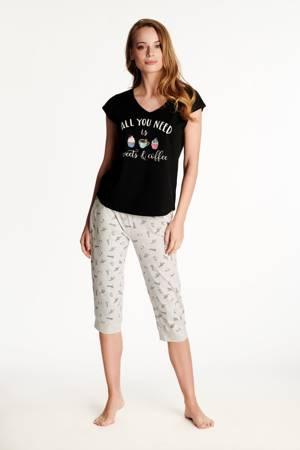 Piżama damska Westley, czarna, krótka
